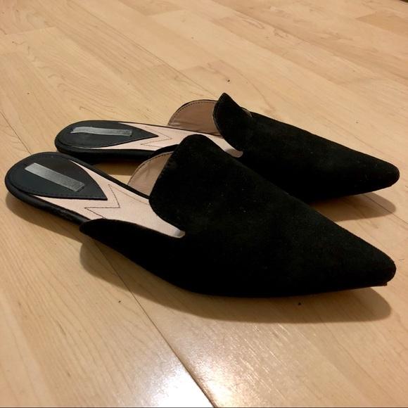 H\u0026M Shoes | Hm Black Flat Slip On Mules